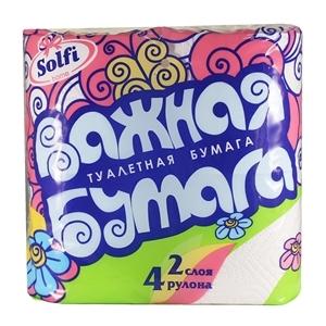 Купить Бумага туалетная, двухслойная «SOLFI» - Важная, 4 шт. в Омске, в магазине Лидер-Март, ЛидерМарт