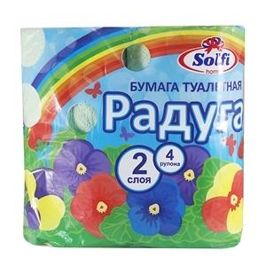 Купить Бумага туалетная, двухслойная «SOLFI» - Радуга, 4 шт. в Омске, в магазине Лидер-Март, ЛидерМарт
