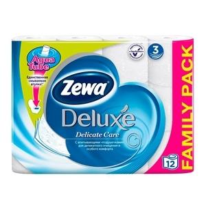 Купить Бумага туалетная «Zewa» - Delux белая, 3 слоя, 12 шт. в Омске, в магазине Лидер-Март, ЛидерМарт