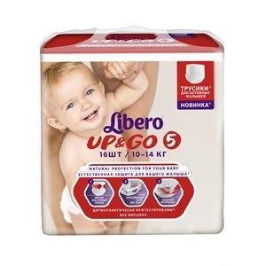 Купить Tрусики детские 10-14 кг «Libero Up&Go» - 5, 16 шт. в Омске, в магазине Лидер-Март, ЛидерМарт