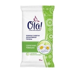 Купить Cалфетки влажные для интимной гигиены «Ола» - Солнечная ромашка, 15 шт. в Омске, в магазине Лидер-Март, ЛидерМарт