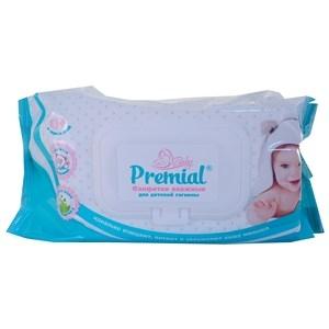 Купить Салфетки влажные для детей «Premial» - С Алоэ вера и вистомином Е, 80 шт. в Омске, в магазине Лидер-Март, ЛидерМарт