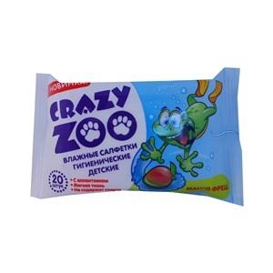 Купить Салфетки влажные для детей «Crazy zoo» - Манго Фреш, с аллантоином, 20 шт. в Омске, в магазине Лидер-Март, ЛидерМарт